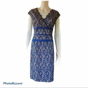 Simply Liliana Blue Metallic Lace Sheath Dress